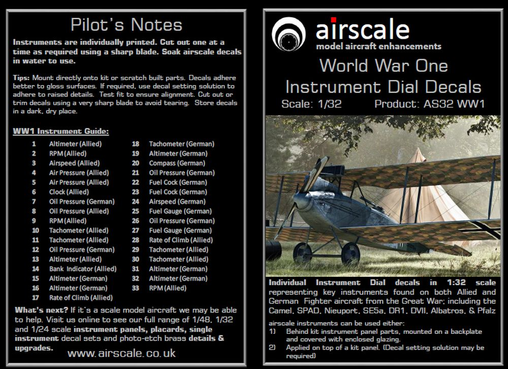 Airscale 1//32 WWI Allied /& German Instruments Decals